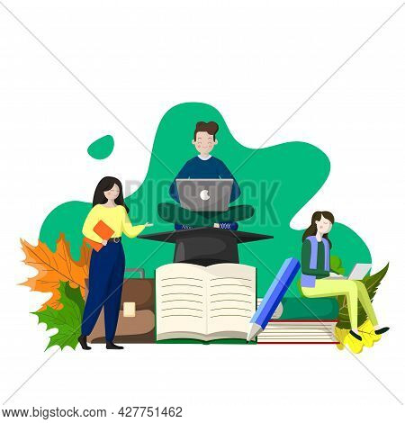 Schoolchildren And Students Doing Homework, Conceptual Image - Vector Illustration