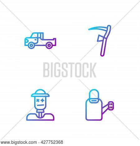 Set Line Watering Can, Scarecrow, Pickup Truck And Scythe. Gradient Color Icons. Vector