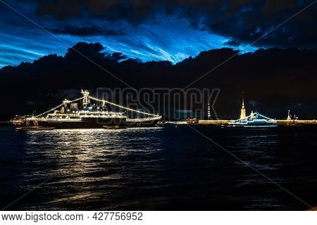 July 21, 2021, Russia, St. Petersburg. Night View Of The Large Landing Ship Bdk Olenegorsky Miner Kf