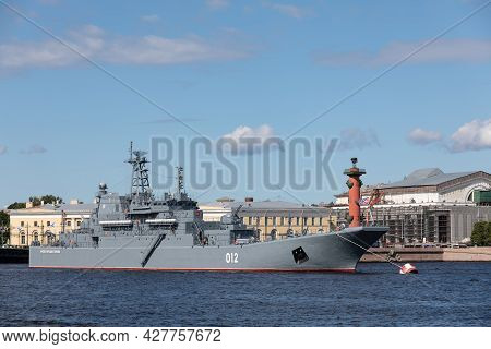 July 21, 2021, Russia, St. Petersburg. Day View Of The Large Landing Ship Bdk Olenegorsky Miner Kfor