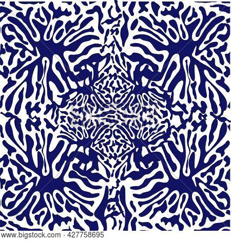 Splash Seamless Pattern, Tiles In Blue, Indigo