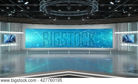 Virtual Tv Studio News Set 3. Green Screen Background. 3d Rendering.\n\nvirtual Set Studio For Chrom