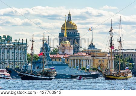 Ships On Neva River During Day Of Russian Navy, Saint Petersburg, Russia