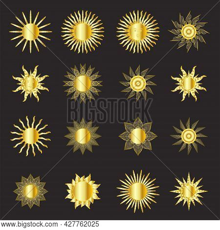 Mystical Golden Boho Tattoos With Sun. Linear Design, Hand-drawing. Set Of Elements For Astrology, M