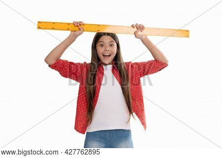 Amazed Teen Girl Hold Ruler. Back To School. Algebra And Geometry. Kid Study Math.