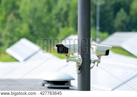 Cctv System, Security Technology. Two Ip Cctv Camera Install  Have Waterproof Cover To Protect. Came