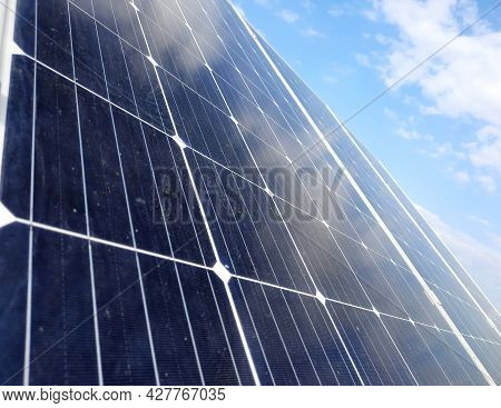 Solar Panels. Solar Panels Close-up Against The Blue Sky. Ecological Extraction Of Electricity. Sola