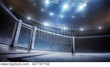 Mma Cage. Side Scene View Under Lights. Fighting Championship. Fight Night. Mma Octagon. 3d Renderin