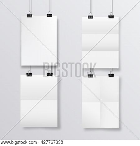 Abstract Poster Design With Hanging Folded Papers. Hanging A4 Paper Poster Mockup.