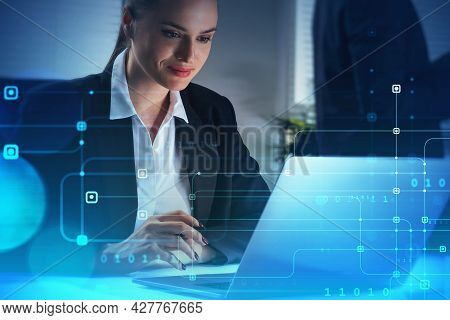 A Woman Programmer Is Typing A Code On Laptop To Protect A Cyber Security From Hacker Attacks And Sa