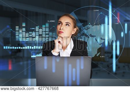 Attractive Business Woman Is Sitting At Workplace In Front Of Laptop, Hand On Chin, Looking Up And W