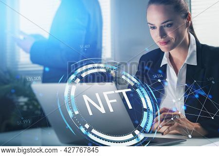 Smiling Attractive Businesswoman Working On Laptop, Non-fungible Token Hologram, Nft With Network Ci