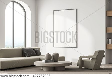 Empty Poster On The Light Beige Wall In The Waiting Room Interior With Arch Panoramic Window, Parque