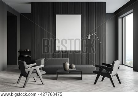 Banner On Wooden Wall In The Living Room Space, Having Trendy Sofa, Two Armchairs, Coffee Table And
