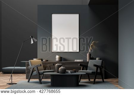 Mock Up Empty Posters On The Wall. Modern Living Room Interior. Wooden Floor And Stylish Furniture.