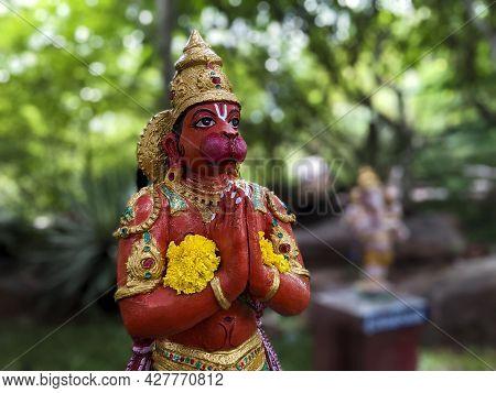 View Of Lord Sri Hanuman Idol Isolated In Natural Rock Garden In Tirumala: Tirumala, Andhra Pradesh,