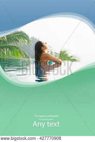Young and attractive woman in swimsuit relaxing in a beautiful poolside. Girl having summer vacation in exotic country. Holidays and traveling concept with copy-space.
