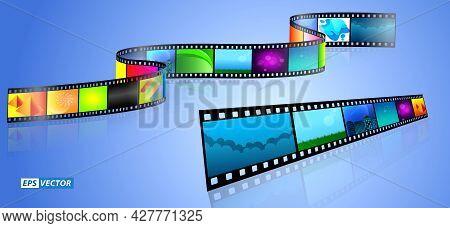 Set Of Realistic Cinema Clapper Board Isolated Or Film Strip Cinema 35mm Type Or Realistic Film Stri