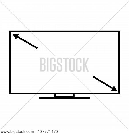 Tv Screen Size Icon On White Background. Full Screen Tv Sign. Wide Screen Symbol. Flat Style.