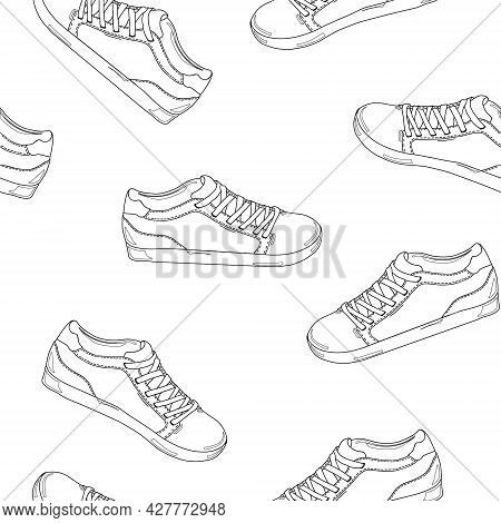 Fashion Shoes Sneakers Background. Design Element. Coloring Book. Fashion Shoes Sneakers Background.
