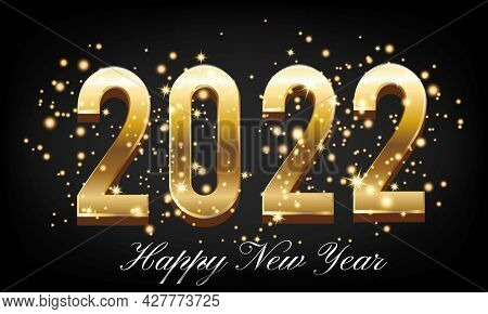 Golden Happy New Year 2022 With Burst Glitter On Black Colour Background - Happy New Year 2022 Golde