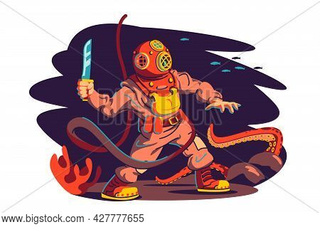 Scuba Diver Man And Octopus Vector Illustration. Diver In Underwater Swimming Fight With Octopus Kra