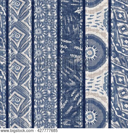 Denim Blue Patchwork Stripe Woven Texture. Washed Out Vintage Printed Cotton Textile Effect. Patched