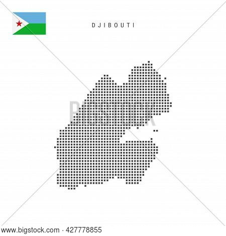 Square Dots Pattern Map Of Djibouti. Djiboutian Dotted Pixel Map With National Flag Isolated On Whit