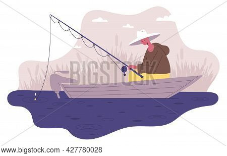 Fisherman Fishing In Boat. Male Outdoor Activity, Fisherman Character With Rod Waiting For Fish Biti