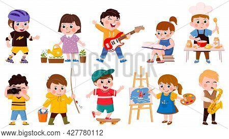 Children Hobby. Cartoon School Or Preschool Kids Cook, Read, Draw And Play Music, Creative Childrens