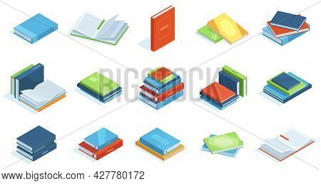 Isometric Library Books. School Education Textbooks, Encyclopedia Or Scientific Literature Vector Il