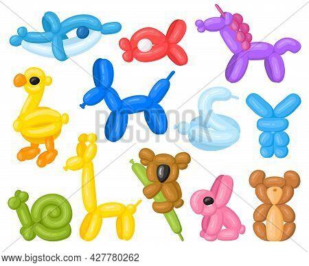 Cartoon Animal Shaped Helium Cute Birthday Balloons. Children Party Unicorn, Koala And Dolphin Ballo