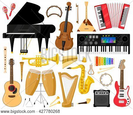 Musical Instruments. Cartoon Music Band Instruments, Piano, Drums, Harp And Synthesiser Vector Symbo