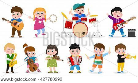 Kids Playing Musical Instruments. Child Music Band, Girls And Boys Play Drum, Guitar And Violin Vect