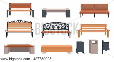 Garden Bench. Cartoon Wooden And Wicker Furniture For Streets And Parks. Outdoor Municipal Chairs Se