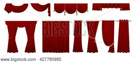 Red Curtains. Cartoon Window Interior Decoration Elements. Velvet Fabric And Luxury Kitchen Textile.