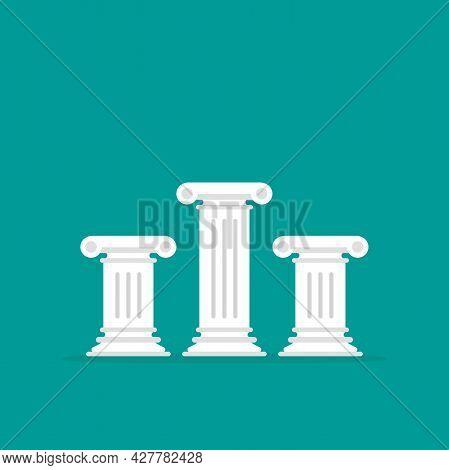 Winner Pedestal. Three Antique Pillars. Podium For Best Product With Greek Or Roman Column. History