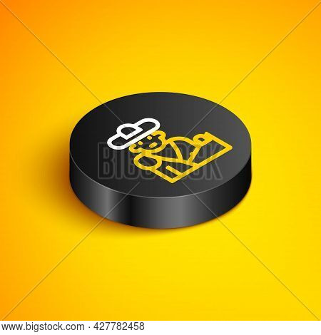 Isometric Line Spain Bullfight, Matador Icon Isolated On Yellow Background. Traditional Spanish Ente