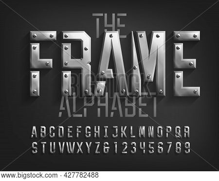 Frame Alphabet Font. Beveled Metal Letters And Numbers With Screws. Stock Vector Typeface For Your T