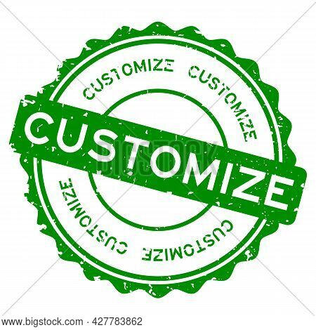 Grunge Green Customize Word Round Rubber Seal Stamp On White Background