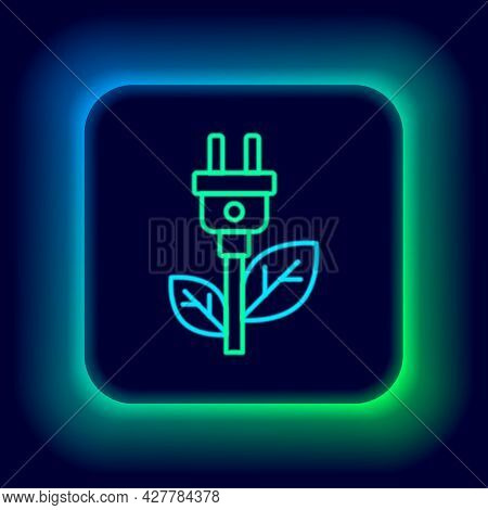 Glowing Neon Line Electric Saving Plug In Leaf Icon Isolated On Black Background. Save Energy Electr