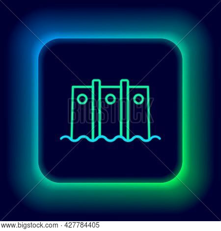 Glowing Neon Line Hydroelectric Dam Icon Isolated On Black Background. Water Energy Plant. Hydropowe