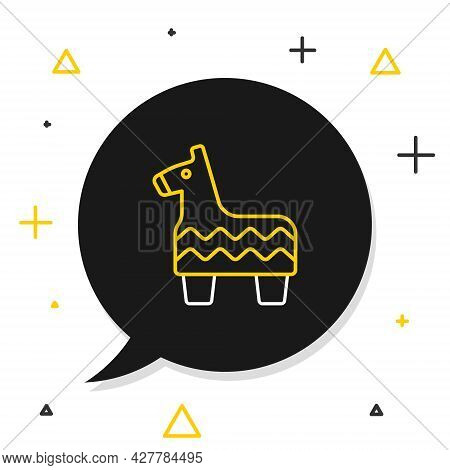 Line Pinata Icon Isolated On White Background. Mexican Traditional Birthday Toy. Colorful Outline Co