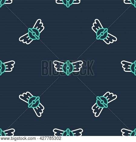 Line Aviation Emblem Icon Isolated Seamless Pattern On Black Background. Military And Civil Aviation