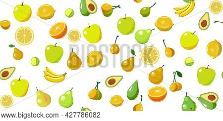 The Most Popular Fruits Are Fruit Trees In The Tropics And Temperate Climates. Background Image. Car