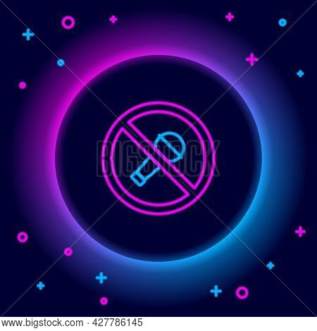 Glowing Neon Line Mute Microphone Icon Isolated On Black Background. Microphone Audio Muted. Colorfu