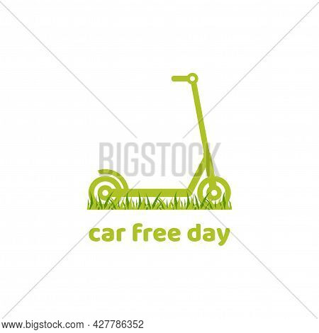 Green Kick Push Scooter Or Balance Bike With Grass Icon. Flat Logo Isolated On White. Vector Illustr