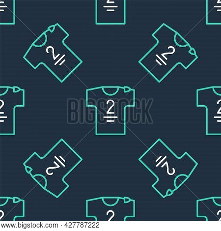 Line Football Jersey And T-shirt Icon Isolated Seamless Pattern On Black Background. Vector