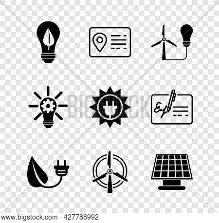 Set Light Bulb With Leaf, Address Book, Wind Turbine, Electric Saving Plug, Rotating, Solar Energy P