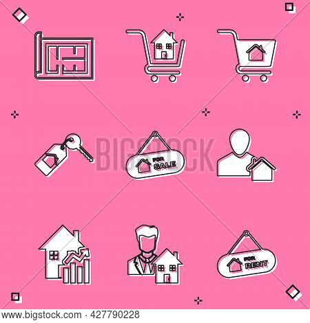 Set House Plan, Shopping Cart With House, Key, Hanging Sign For Sale, Realtor, Rising Cost Of Housin